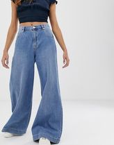 PULL & BEAR Plain Cotton Long Wide & Flared Jeans