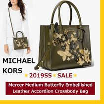 Michael Kors MERCER 2WAY Plain Leather Python Elegant Style Khaki Shoulder Bags
