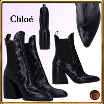 Chloe Casual Style Other Animal Patterns Leather Chunky Heels