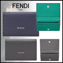 FENDI Calfskin Plain Card Holders