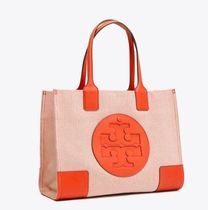 Tory Burch ELLA TOTE Stripes Casual Style Unisex Canvas Street Style A4 Bi-color