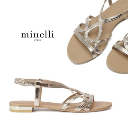 Round Toe Plain Leather Block Heels Flip Flops Elegant Style