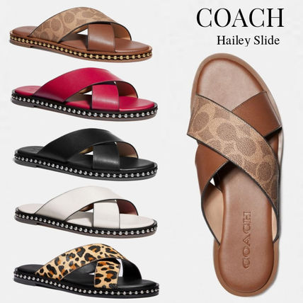 Leopard Patterns Open Toe Rubber Sole Casual Style Leather