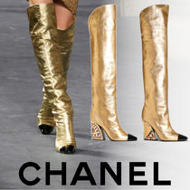 CHANEL Leather Block Heels Party Style High Heel Boots