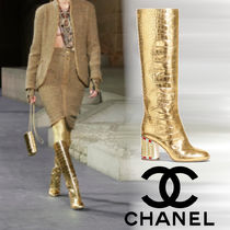CHANEL Leather Block Heels Party Style Python High Heel Boots