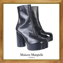 Maison Martin Margiela Plain Leather Block Heels High Heel Boots