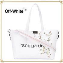 Off-White Flower Patterns Casual Style 2WAY Leather Handbags