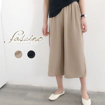 Casual Style Chiffon Plain Medium Midi Oversized Culottes