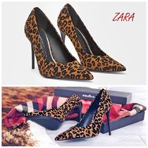 ZARA Leopard Patterns Party Style Pointed Toe Pumps & Mules