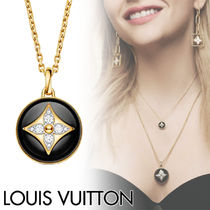Louis Vuitton Blended Fabrics Flower Chain 18K Gold With Jewels