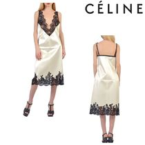 CELINE Short Sleeveless V-Neck Plain Lace Elegant Style