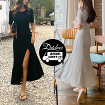 Crew Neck Casual Style Maxi Plain Long Short Sleeves Midi