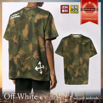 Off-White Crew Neck Camouflage Cotton Short Sleeves Oversized