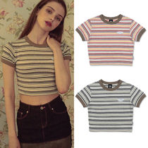 SCULPTOR Crew Neck Short Stripes Street Style Short Sleeves Cropped