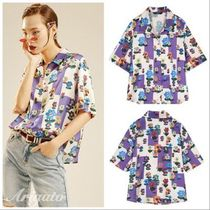 ELF SACK Flower Patterns Casual Style Chiffon Medium Short Sleeves