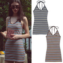 SCULPTOR Stripes Casual Style Tight Sleeveless Halter Neck
