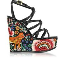 Roberto Cavalli Flower Patterns Open Toe Platform Other Animal Patterns