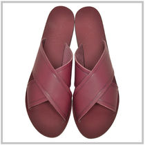 ANCIENT GREEK SANDALS Open Toe Street Style Plain Leather Footbed Sandals