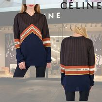 CELINE Silk V-Neck Long Sleeves Plain Medium Elegant Style Sweaters