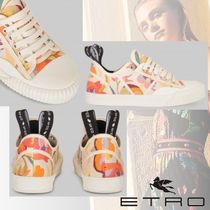 ETRO Flower Patterns Plain Toe Rubber Sole Lace-up Casual Style