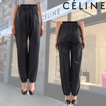 CELINE Plain Leather Long Elegant Style