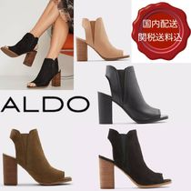 ALDO Open Toe Casual Style Plain Leather Block Heels