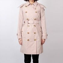 Burberry THE KENSINGTON Other Check Patterns Plain Medium Office Style Trench Coats