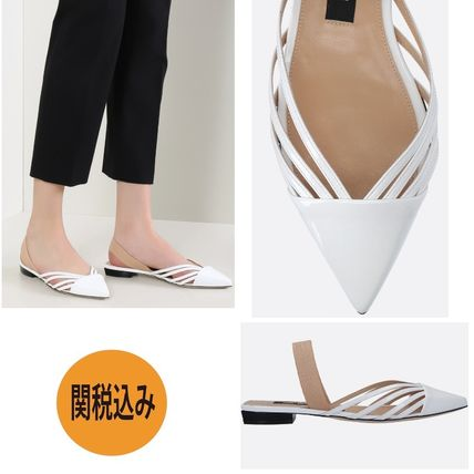Casual Style Plain Leather Chunky Heels Pumps & Mules