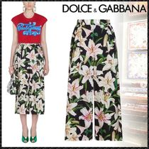 Dolce & Gabbana Flower Patterns Casual Style Cotton Culottes & Gaucho Pants