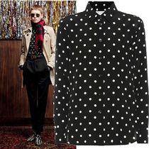 Saint Laurent Dots Silk Long Sleeves Medium Elegant Style Shirts & Blouses