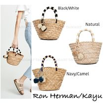 Ron Herman Stripes Blended Fabrics Street Style Plain Straw Bags