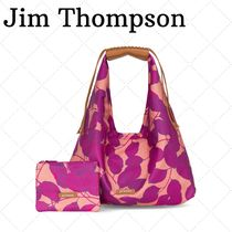 JIM THOMPSON Flower Patterns Camouflage Blended Fabrics Leather Totes