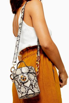 Casual Style Faux Fur Python Crossbody Shoulder Bags