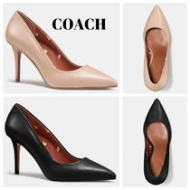 Coach Flower Patterns Plain Leather Pin Heels Office Style