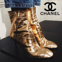 CHANEL Plain Leather Pin Heels Party Style Python