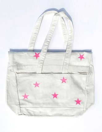 Star Casual Style Canvas Street Style A4 Plain Totes
