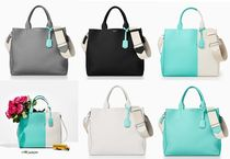 Tiffany & Co 2WAY Bi-color Plain Leather Office Style Totes