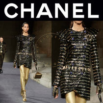 CHANEL Stripes Medium Handmade With Jewels Elegant Style Coats