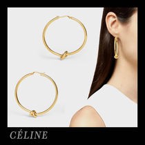 CELINE Brass Elegant Style Earrings