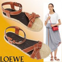 LOEWE Open Toe Casual Style Plain Leather Sandals