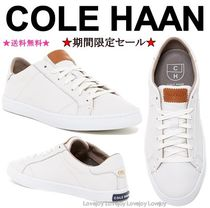 Cole Haan Round Toe Lace-up Plain Leather Logo Low-Top Sneakers