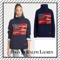 POLO RALPH LAUREN Cable Knit Casual Style Wool Street Style Medium Oversized