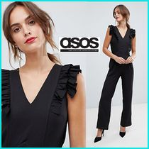 ASOS V-Neck Plain Long Party Style Puff Sleeves Dresses