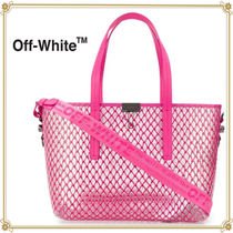 Off-White Casual Style 2WAY Plain Leather Totes