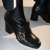 GUCCI Round Toe Plain Leather Chunky Heels Ankle & Booties Boots