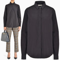 Saint Laurent Long Sleeves Plain Cotton Medium Shirts & Blouses