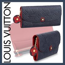 Louis Vuitton PORTEFEUILLE EMILIE Monogram Blended Fabrics Bi-color Chain Leather Long Wallets