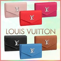 Louis Vuitton Blended Fabrics Bi-color Plain Leather Folding Wallets