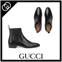 GUCCI Plain Toe Plain Leather Chelsea Boots Chelsea Boots