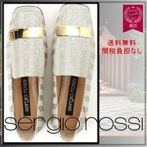 Sergio Rossi Stripes Studded Leather Ballet Shoes